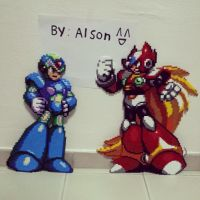 MegaMan X  and Zero by ddralson