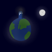 The Earth, The Moon, and The Tardis. by TheBronyCorner