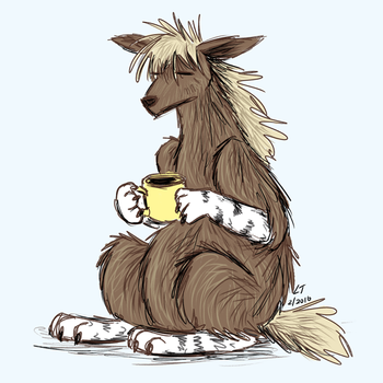 Brown Hyena Needs Coffee by ltread