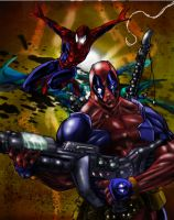 SPIDERman and DEADpool by rivaloya