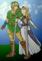 Link and Zelda by Lesh4537