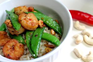 Chili Cashew Shrimp With Brown Rice by jujub33ns