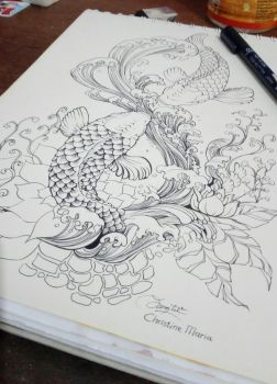 twin fishes inking by MariaKhe