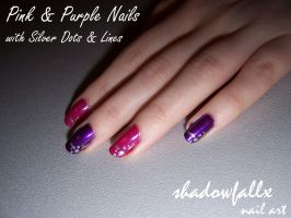 Pink and Purple Nails by shadowfallx