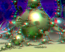Kleinian drops by Theli-at Anaglyph 3D Stereoscopy by Osipenkov