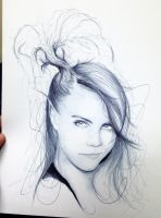 Fast Cara Delevingne Ballpoint pen Sketch by Tariqfisher