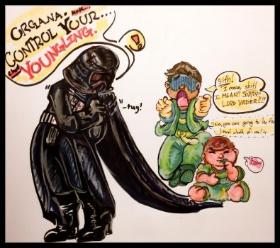 Sitting on Vader's Cape by doubtingrabbit
