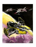Jedi Starfighter and ARC 170 by ncajayon