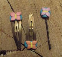 Butterfly hair clips by MeticulousBlue