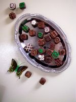 Summer Mint Chocolate Magnets by KimsButterflyGarden