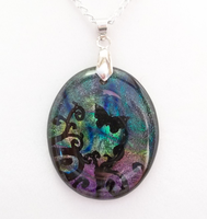 Dark Butterfly Swirls Pendant by HoneyCatJewelry