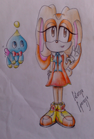 Cream The Rabbit and her Chao, Cheese by BlueLucarioAura