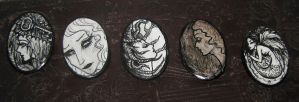 Original Art Drawing Brooches by asunder