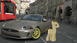Doctor Whooves and his Jaguar XKR by nestordc