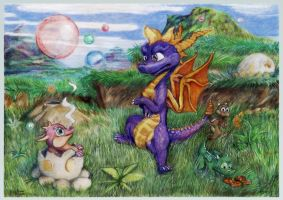 Spyro as babysitter by SSsilver-c