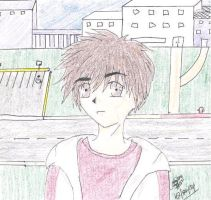 Boy at a deserted school by kay7291