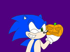 Sonic with a pumpkin by MarcosLucky96