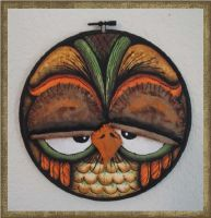 3D Bug Eyed Painted Haunted Halloween Hoop - Owl by peggytoes