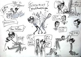 Frienemies Wilson and Maxwell doodles by RavenBlackCrow
