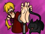 Michelle tickled by a cat by Lord-Reckless by neverb4