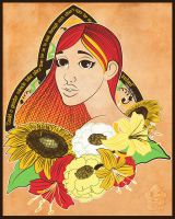 lady in the flowers by tad-aster