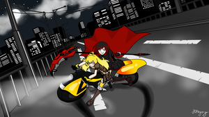 Ruby and Yang on Yang's motorcycle by MsVioletMagpie