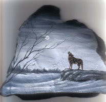 Wolf...on rock by Arteestique
