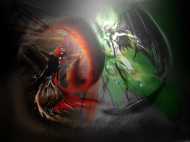 Ichigo Vs. Ulquiorra Wallpaper by bankai459