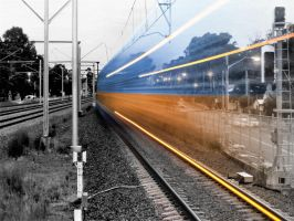 Black n White And Colour Train by pixelperfect777