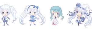 Chibi Snow Miku Batch 1 by Starcookie1234