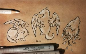 Winged dogs by AlviaAlcedo