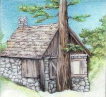 Cabin in the woods by Leona-Norten