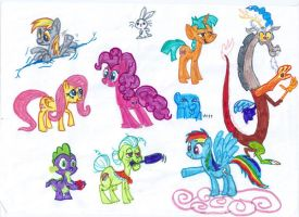 Mlp Characters Sketch 1 by seriousdog