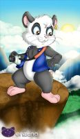 Running up that hill (panoramic hamster) by Onzeno