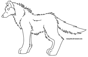 Free Wolf Lineart-Paint Friendly by VampyKit