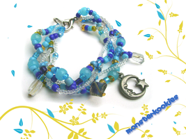 Lunar Blue and Gold Bracelet by monsterkookies