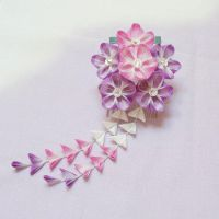Magenta and Violet Blossom Kanzashi with Shidare 1 by japanesesilkflowers