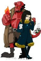 hellboy and Liz by piyo119