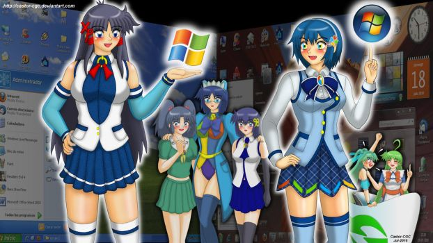 OS Girls: XP vs Win 7 by castor-cgc