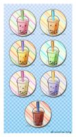 Bubble Tea - Button Set by kehrilyn
