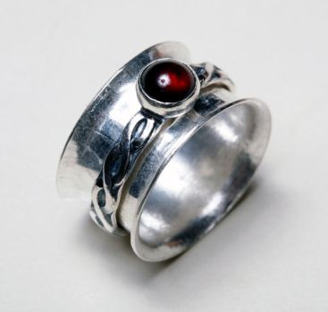 Garnet Spinner Ring by SoulStoneDesigns