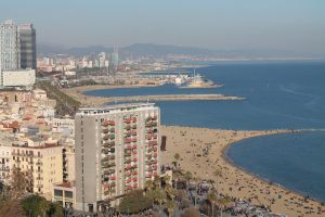 Barceloneta: crowded even during the winter by zhuravlik26