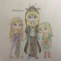 Link, Midna and Zelda Chibis by reddishpirate0614