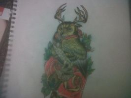Owl with antlers drawing by Richyreynolds