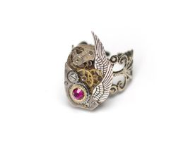 Winged Steampunk Ring - Indian Pink by doodle-moose