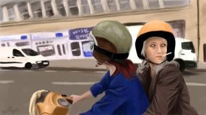 Moped Scene by MrsDarko