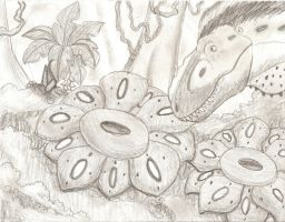 Tarbosaurus and the Corpse Flowers by DaBrandonSphere