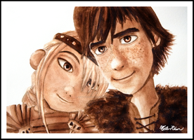 Hiccup and Astrid Watercolor by masterrohan