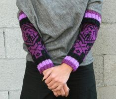 Hand knit arm warmers scandinavian knitting black by YANKA-arts-n-crafts