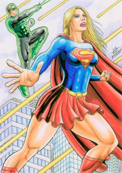 Supergirl and Green Lantern,color october 18, 2016 by TIAGO-FERNANDES